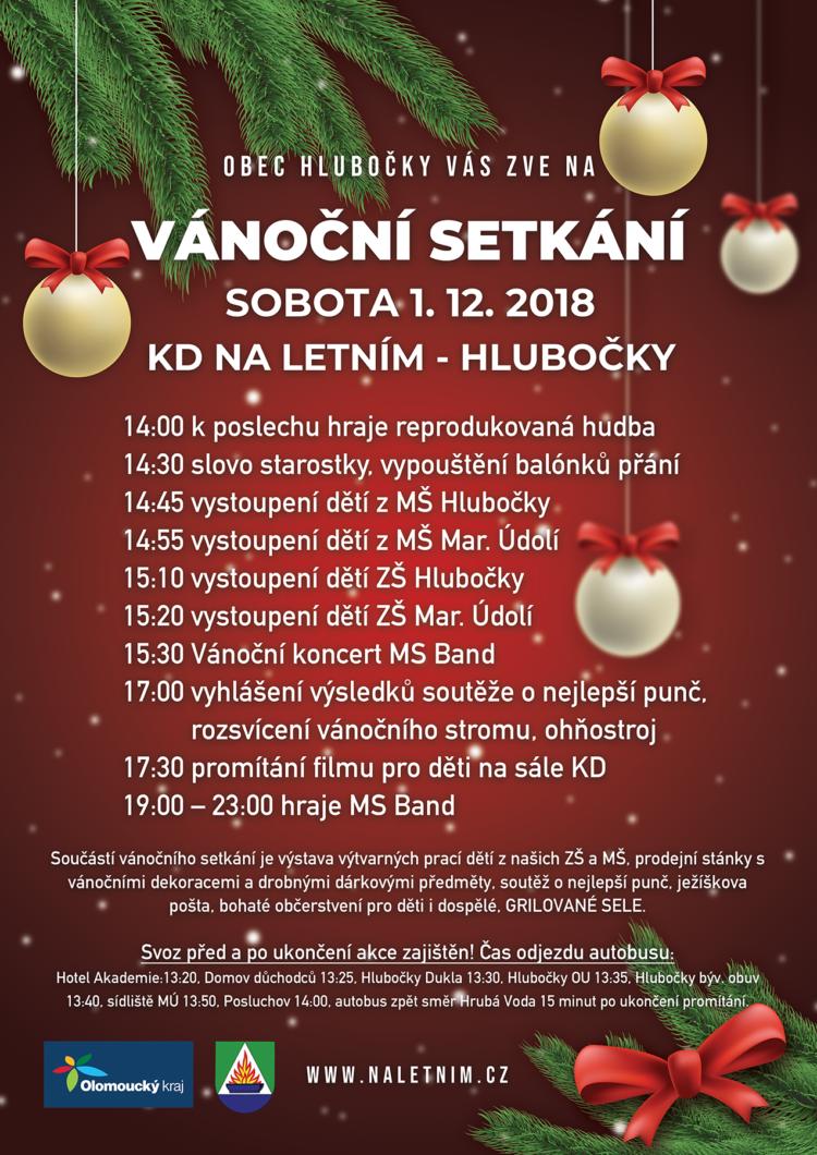 Plakát - Vánoční setkání - Hlubočky 2018