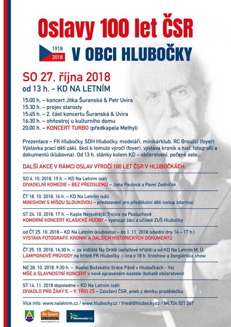 Oslavy 100 let ČSR v obci Hlubočky