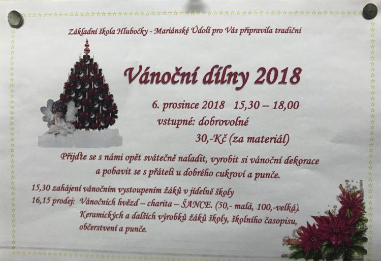 Vánoční dílny - ZŠ Mar. Údolí