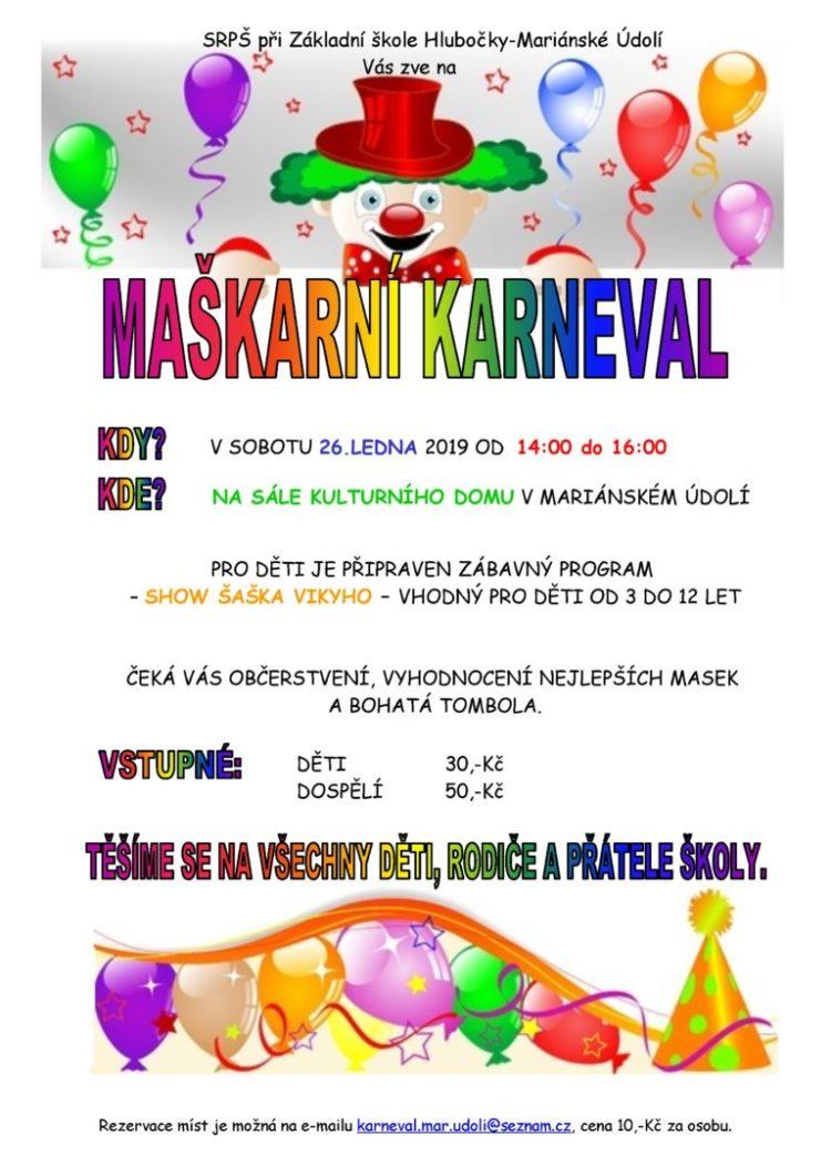 Karneval ZŠ Mariánské Údolí