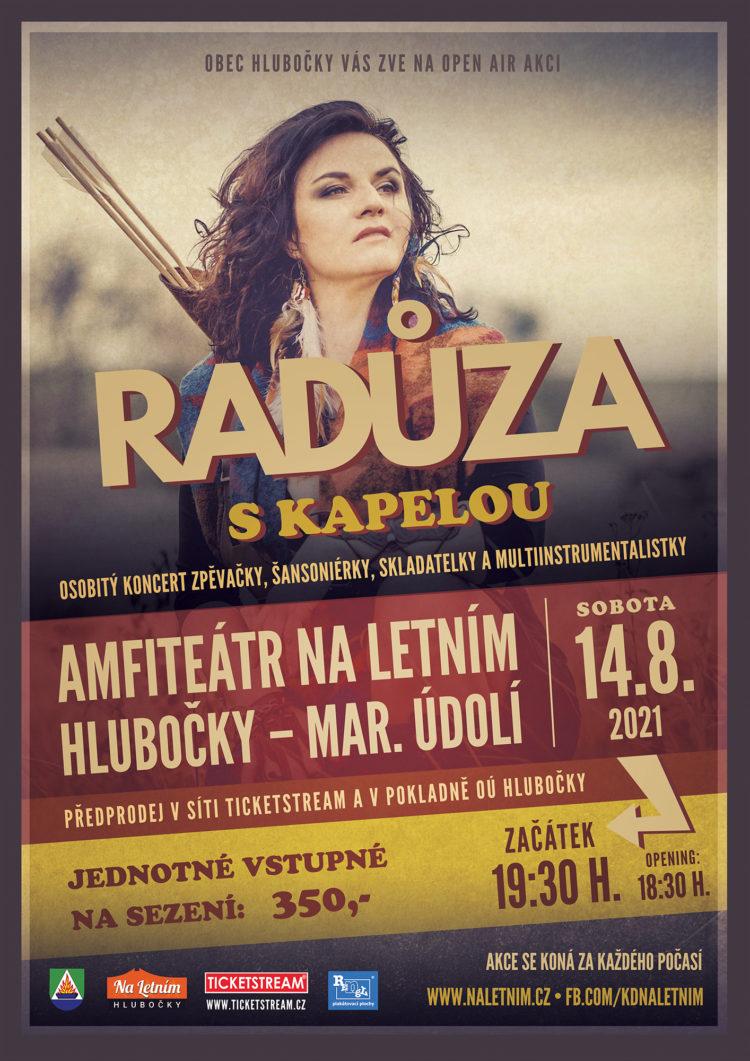 Plakát koncert Radůza s kapelou - Hlubočky 2021